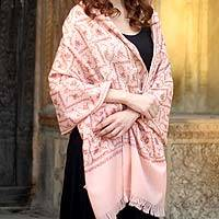 Wool shawl, 'Peach Arbor' - Handcrafted Floral Wool Embroidered Shawl