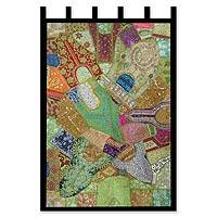 Gujrati wall hanging, 'Spring Greeting' - Gujrati wall hanging