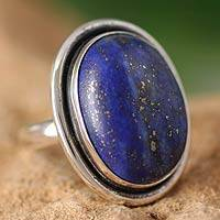 Lapis lazuli cocktail ring, 'Universe' - Lapis Lazuli Cocktail Ring in Sterling Silver Jewelry