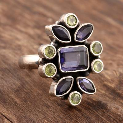 Iolite and peridot cocktail ring, 'Blue Forest' - Unique Sterling Silver and Iolite Ring