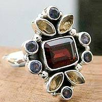 Garnet and citrine cocktail ring, 'Splendor' - Handcrafted Multi-Stone Cocktail Ring