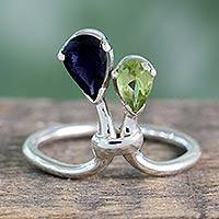 Peridot and iolite cocktail ring, 'You and Me'