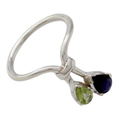 Iolite and Peridot Ring India Silver Jewelry