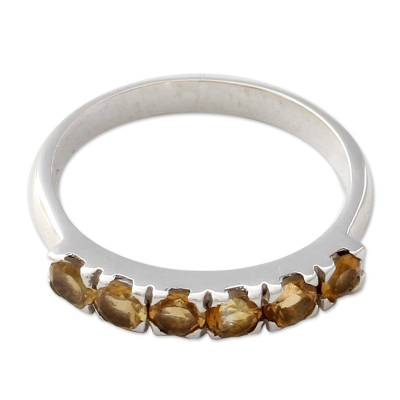 Fair Trade Jewelry India Sterling Silver and Citrine Ring