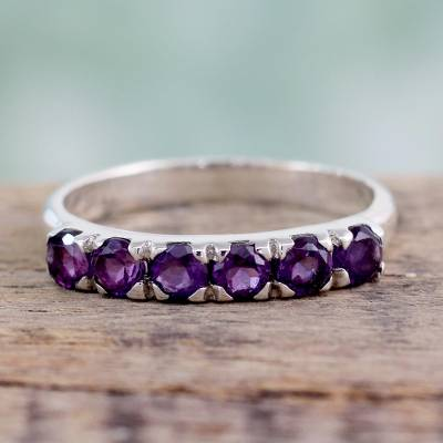 Amethyst band ring, 'Forever Violet' - Hand Made jewellery Sterling Silver Amethyst Ring