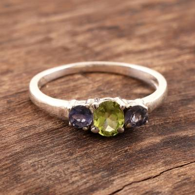 Iolite and peridot 3 stone ring, 'Blue Embrace' - Peridot and Iolite Ring on Sterling Silver from India