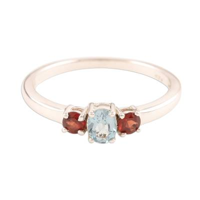 Fair Trade India Blue Topaz and Garnet Ring