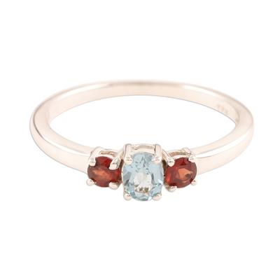 Fair Trade India Blue Topaz and Garnet Ring