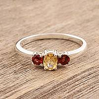 Garnet and citrine 3-stone ring, 'Passionate Embrace' - India jewellery Citrine and Garnet Sterling Silver Ring