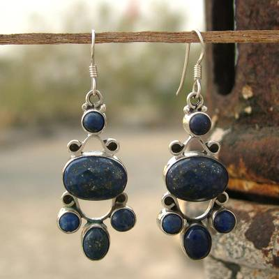 Lapis lazuli earrings, 'Midnight Stars' - Hand Crafted Sterling Silver and Lapis Lazuli Earrings