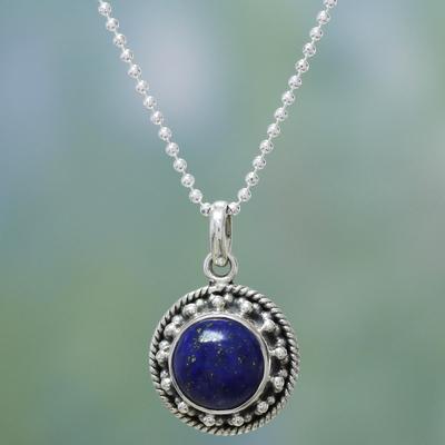 Lapis lazuli choker, 'Lavish Moon' - Artisan Handmade Lapis Lazuli Sterling Silver Necklace