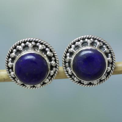 Lapis lazuli earrings, 'Lavish Moon' - Artisan Crafted Sterling Silver Lapis Lazuli Earrings