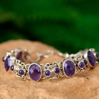 Amethyst link bracelet, 'Royal Purple' - Amethyst Bracelet Handcrafted in Sterling Silver Jewelry