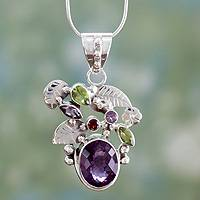 Amethyst and peridot pendant necklace, 'Plum Blossom' - Multigemstone Indian Jewelry Sterling Silver Necklace