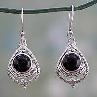 Onyx earrings, 'Mystic' - Onyx Stone with Sterling Rope Trim Handcrafted in India