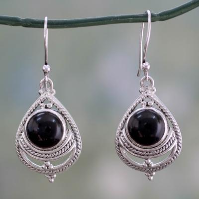 Onyx earrings, 'Mystic' - Onyx Earrings Handmade with Sterling Silver India