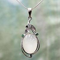 Emerald and moonstone pendant necklace, 'Mystic Princess' - Fair Trade Jewelry Sterling Silver Moonstone Necklace