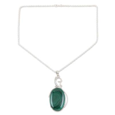 Malachite choker, 'India Green' - Sterling Silver Choker Malachite Necklace