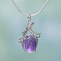 Amethyst pendant necklace, 'Forever Yours'