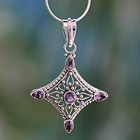 Amethyst pendant necklace, 'Jaipur Diamond' - Handcrafted Indian Sterling Silver and Amethyst Necklace