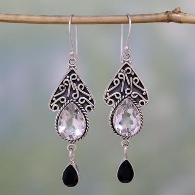 Quartz and onyx dangle earrings, 'Queen of Jaipur' - Quartz and Onyx Silver Dangle Earrings