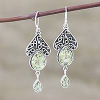 Sterling silver dangle earrings, 'Queen of Jaipur' - Fair Trade jewellery Sterling Silver and Quartz Earrings