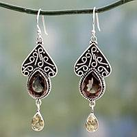 Smoky quartz dangle earrings, 'Queen of Jaipur' - Handcrafted Indian Quartz Earrings on Sterling Silver
