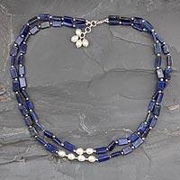 Pearl and lapis lazuli strand necklace, 'Midnight Magic' - Pearl and lapis lazuli strand necklace
