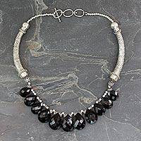 Onyx choker, 'Regal India' - Onyx Choker Sterling Silver Necklace Handmade India