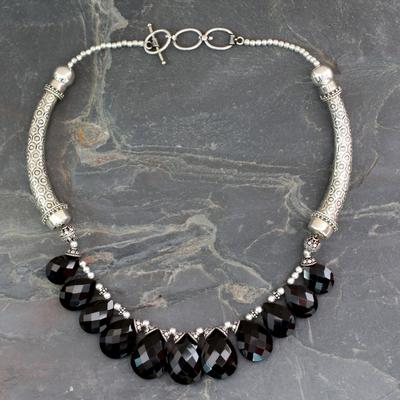 Onyx choker, 'Regal India' - Onyx Choker Sterling Silver Necklace Handmade India