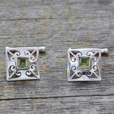 Peridot cufflinks, 'Love Quadrant' - Men's jewellery Sterling Silver Peridot Cufflinks