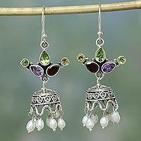 Pearl and amethyst earrings, 'Fairy Princess' - Artisan-Designed Pearl, Gemstone, and Sterling Chandeliers