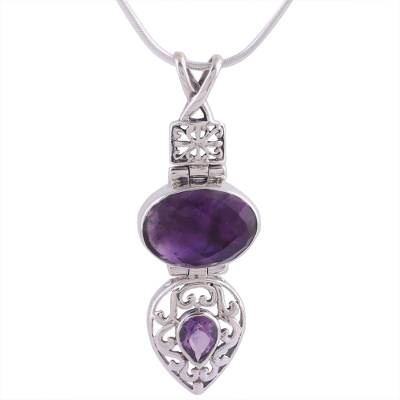 Amethyst pendant necklace, 'Wise Beauty' - India jewellery Sterling Silver and Amethyst Necklace