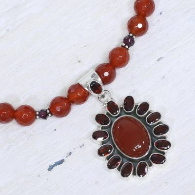 Garnet and carnelian pendant necklace, 'Passionate' - Garnet and Carnelian Necklace India Silver Jewelry