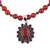 Garnet and carnelian pendant necklace, 'Passionate' - Garnet and Carnelian Necklace India Silver Jewelry (image 2c) thumbail