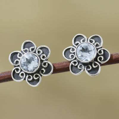 Topaz earrings, 'Blue Blossom' - Women's Sterling Silver Blue Topaz Button Earrings