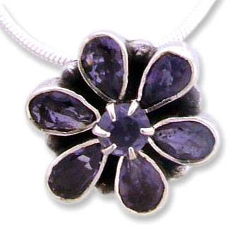 Iolite floral necklace, 'Shy Violet' - Floral jewellery Sterling Silver Iolite Necklace from India