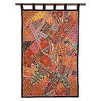 Cotton wall hanging, 'Glamorous' - Gujarati Cotton Wall Hanging with Beads and Sequins