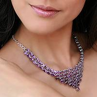 Amethyst necklace, 'Mughal Princess' - Amethyst necklace