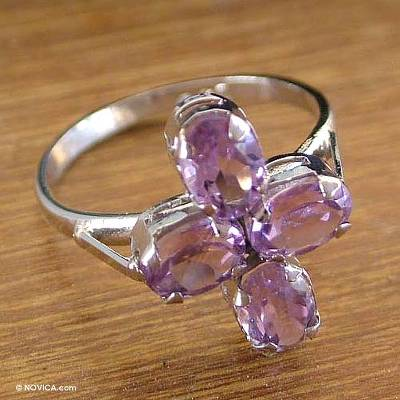 Unique February Birthstone Amethyst and Sterling Silver 4 Stone Ring