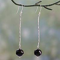 Onyx dangle earrings, 'Twirling Comets' - Onyx Globes on Rhodium Plated Sterling Silver Earrings