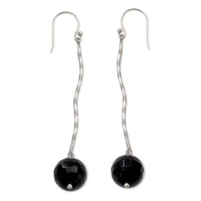 Onyx Globes on Rhodium Plated Sterling Silver Earrings
