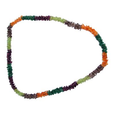 Garnet and peridot long necklace