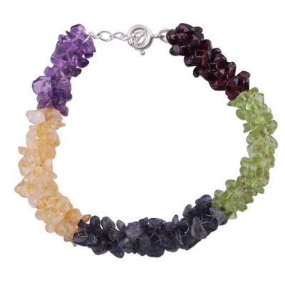 Garnet and peridot beaded bracelet