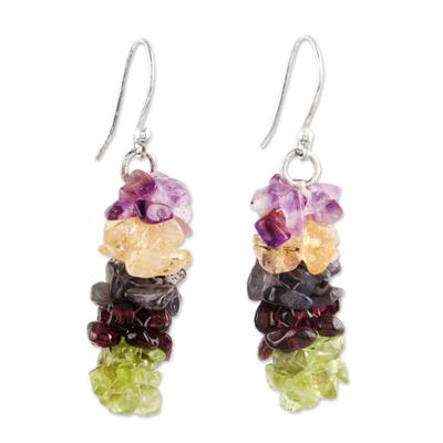 Garnet and peridot earrings