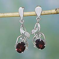 Garnet dangle earrings, 'Bud of Fire' - Garnet Earrings in Sterling Silver Handmade Artisan Jewelry