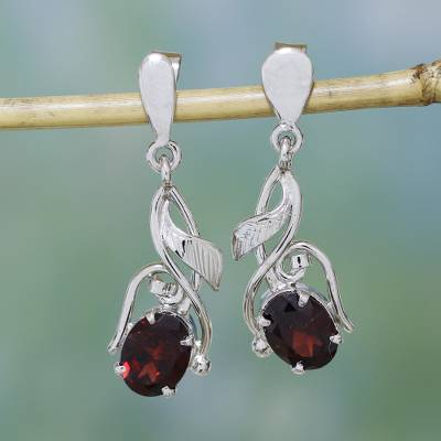 Garnet Dangle Earrings Bud Of Fire In Sterling Silver Handmade