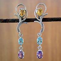 Amethyst and citrine drop earrings, 'Spring Princess' - Silver Multigem Earrings