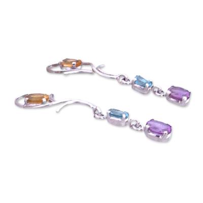Amethyst and citrine drop earrings, 'Spring Princess' - Silver Multigem Earrings