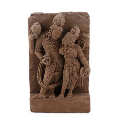 Sandstone sculpture, 'Vishnu's Undying Love' - Sandstone sculpture